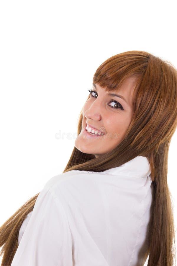 Portret van het gelukkige jonge bedrijfsvrouw glimlachen royalty-vrije stock foto