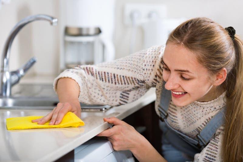 Portret van het glimlachen het jonge huisvrouw schoonmaken met levering stock foto