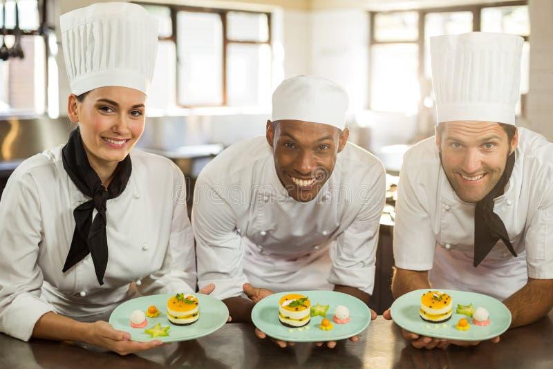 Portret van het glimlachen van de platen van het de holdingsdessert van het chef-koksteam stock foto's
