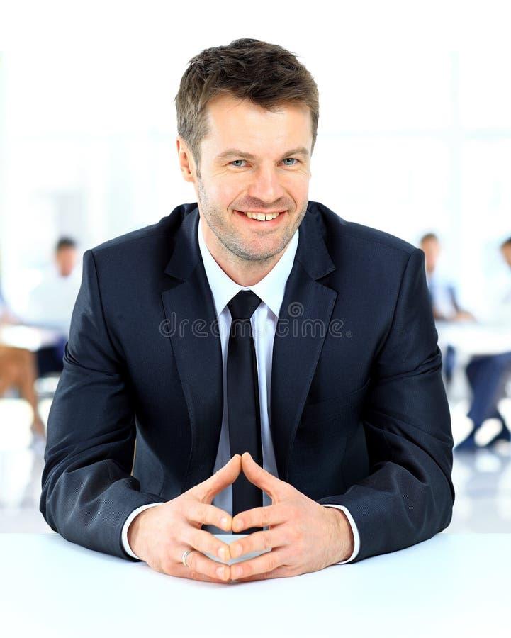 Portret van het glimlachen zakenmanzitting stock fotografie