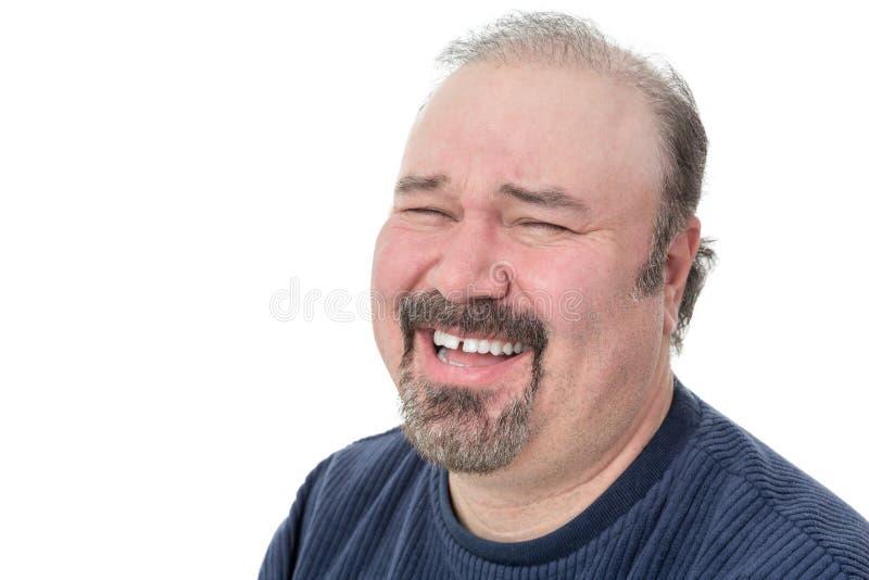 Portret van het grappige rijpe mens lachen royalty-vrije stock fotografie