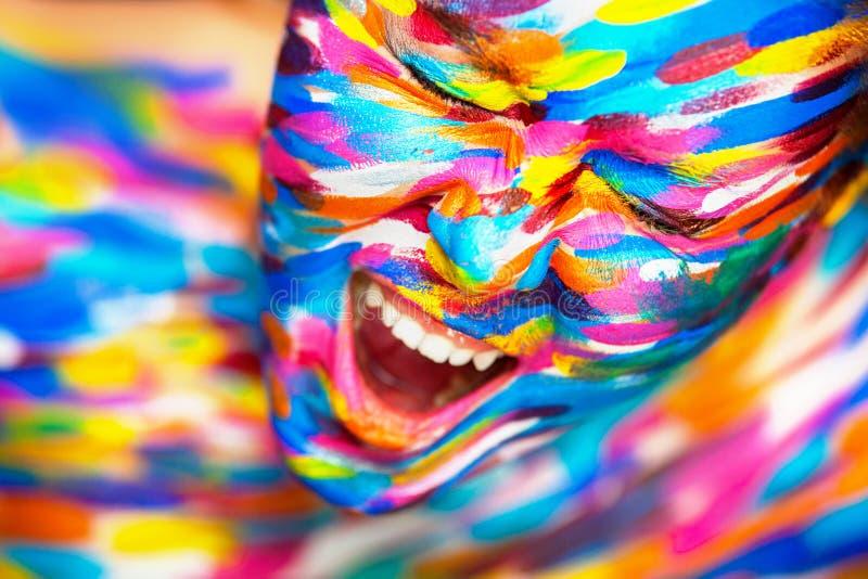 Portret van het heldere mooie meisje met art. royalty-vrije stock foto