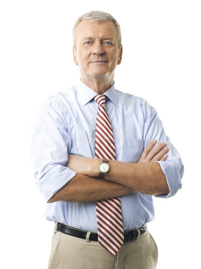 Portret van het hogere zakenman glimlachen royalty-vrije stock afbeelding