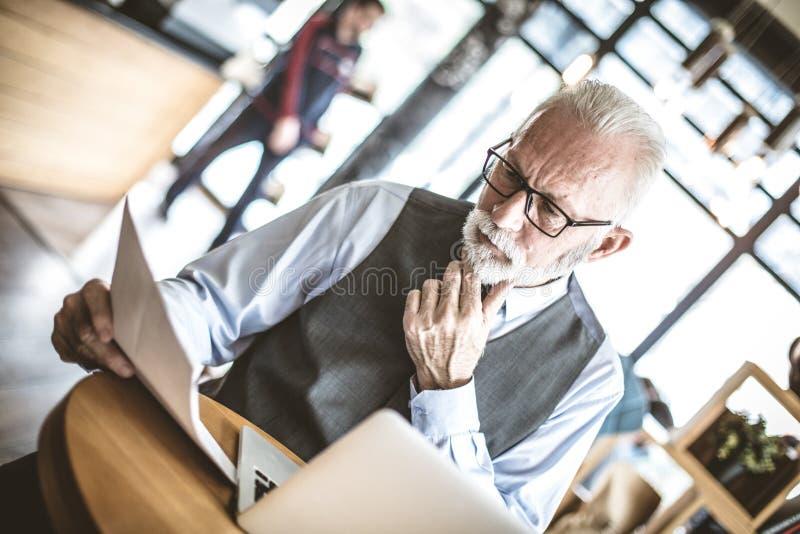 Portret van het hogere zakenman werken op zijn kantoor stock afbeeldingen