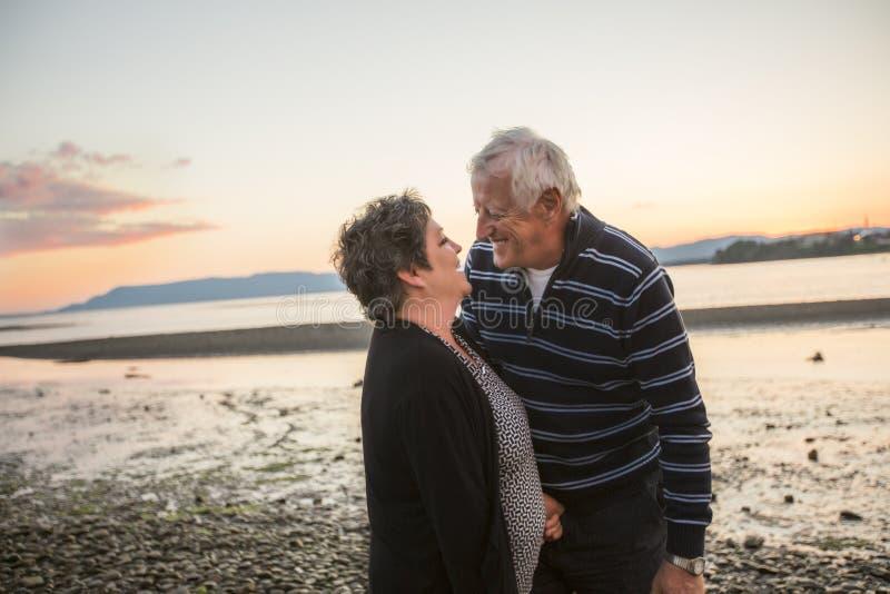 Portret van het houden van van hoger paar bij het strand stock foto's