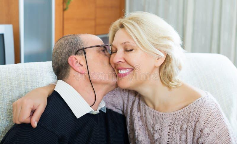 Portret van het houden van van rijpe echtgenoten royalty-vrije stock afbeelding