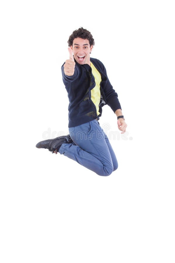 Portret van het jonge expressieve Kaukasische mens springen van vreugde royalty-vrije stock foto's