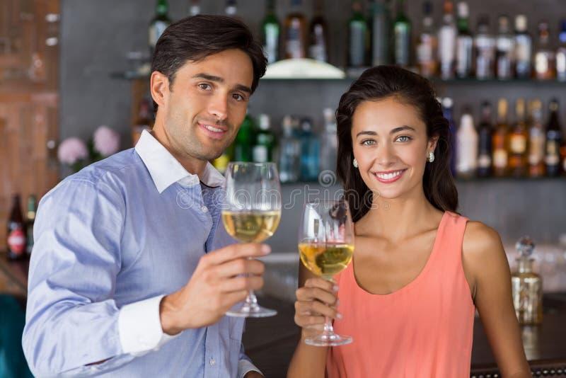 Portret van het jonge glas van de paarholding wijn royalty-vrije stock foto