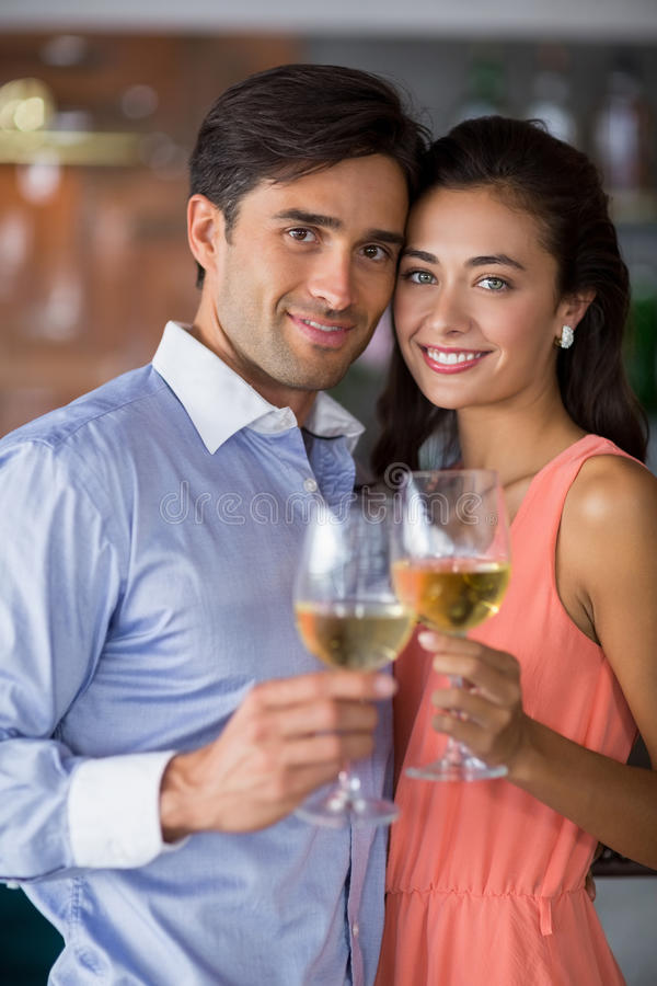 Portret van het jonge glas van de paarholding wijn royalty-vrije stock fotografie