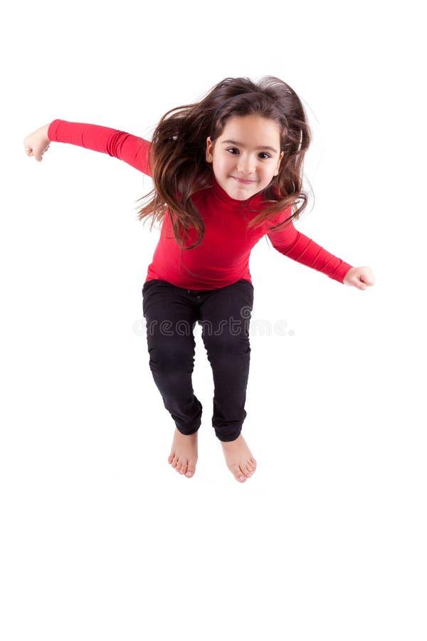 Portret van het Jonge Kaukasische meisje springen stock foto's