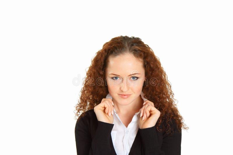 Portret van het jonge mooie meisje op wit stock afbeeldingen