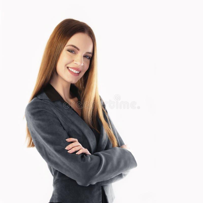 Portret van het jonge onderneemster glimlachen royalty-vrije stock foto's