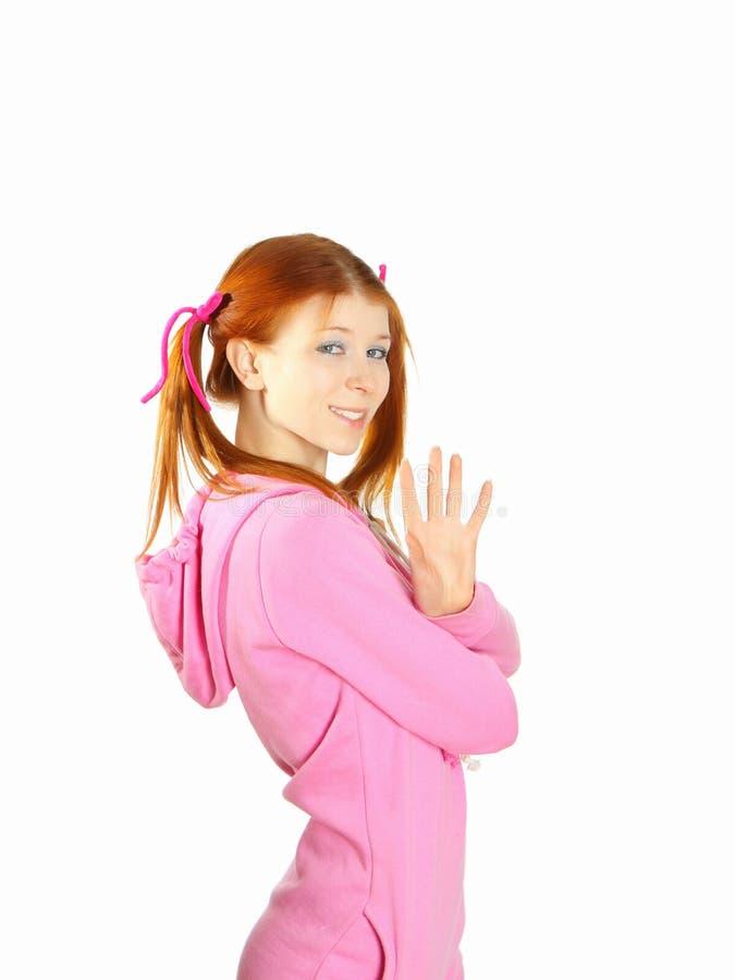 Portret van het jonge roodharige mooie meisje stock fotografie