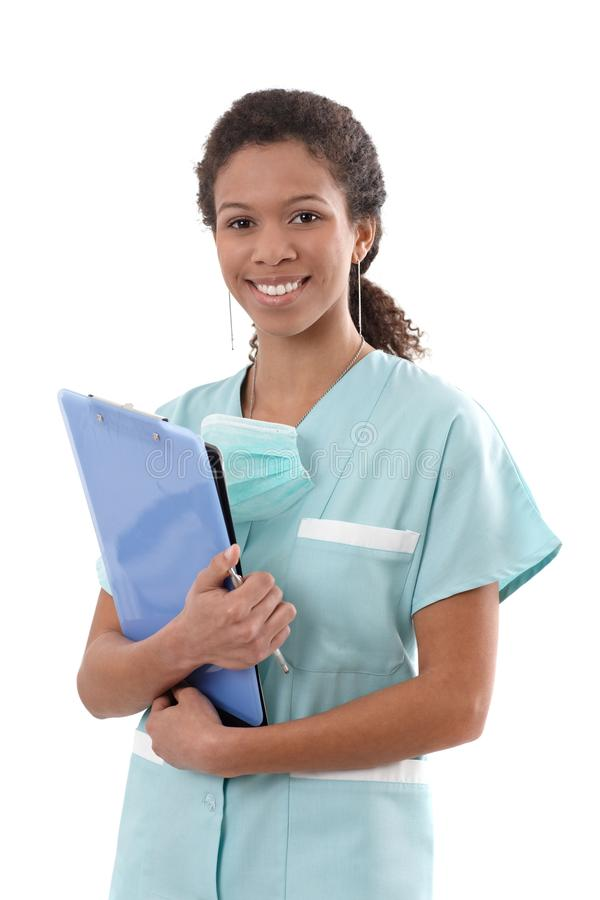 Portret van het jonge verpleegster glimlachen stock foto