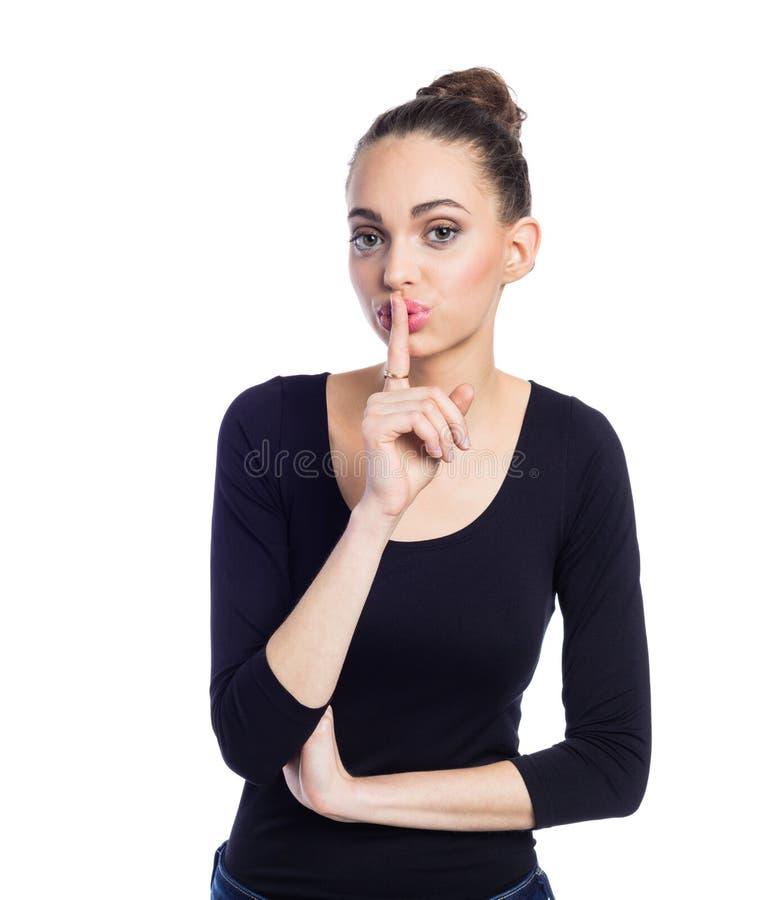 Portret van het jonge vrouw doen zwijgen stock foto