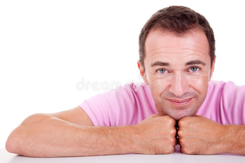 Portret van het knappe midden-leeftijdsmens glimlachen royalty-vrije stock afbeelding