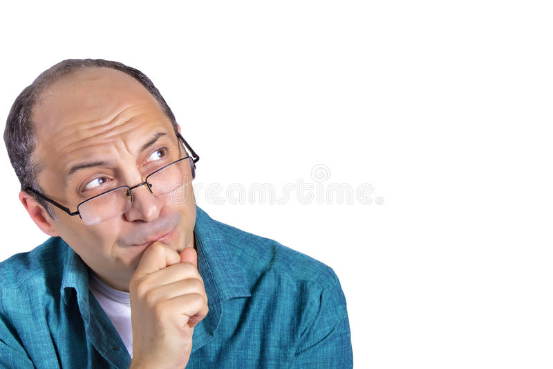 Portret van het knappe volwassen mens denken stock afbeelding