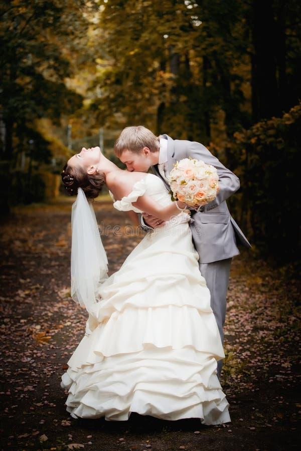 Portret van het kussen van jonggehuwden stock foto's