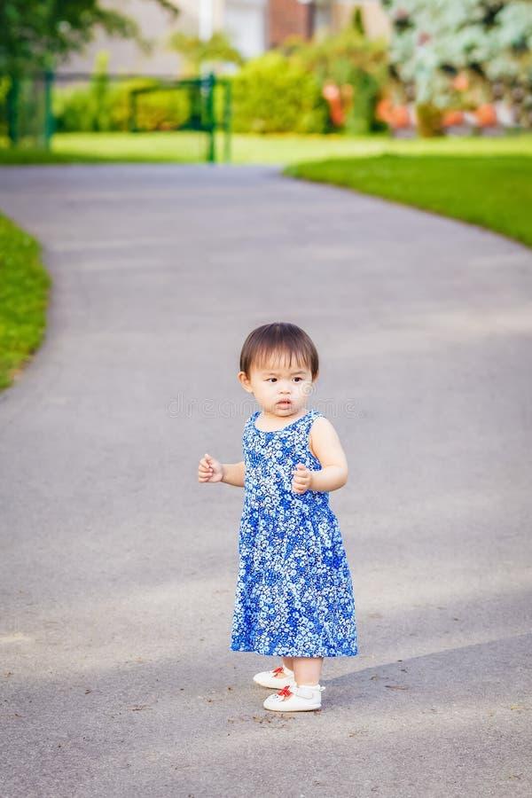 Portret van het leuke Aziatische kind spelen in park stock foto