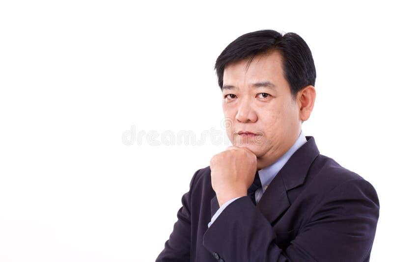 Portret van het midden oude zakenman denken royalty-vrije stock fotografie