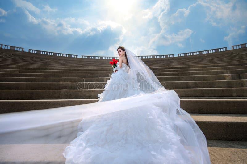 Portret van het mooie bruidhuwelijk royalty-vrije stock afbeelding