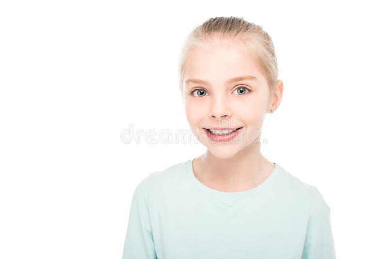 portret van het mooie gelukkige meisje glimlachen bij camera stock afbeeldingen