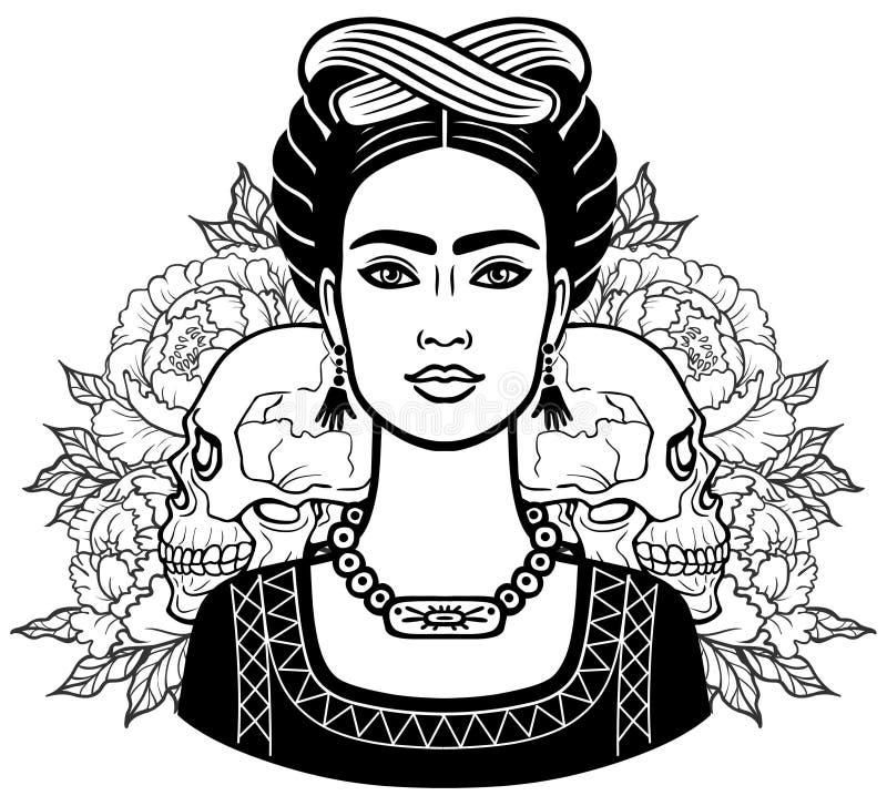 Portret van het mooie Mexicaanse meisje in oude kleren, menselijke schedels, achtergrond - de gestileerde rozen vector illustratie