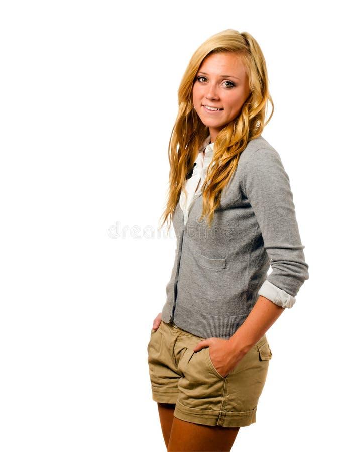 Portret van het mooie tiener glimlachen stock fotografie
