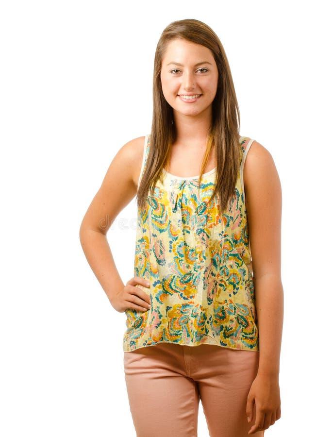 Portret van het mooie tiener glimlachen stock afbeeldingen