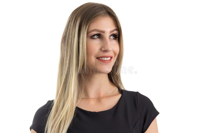 Portret van het mooie vrouw kijken aan de kant Blondepersoon i royalty-vrije stock afbeeldingen