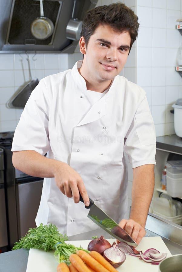 Portret van het Restaurantkeuken van Chef-kokpreparing vegetables in royalty-vrije stock foto's