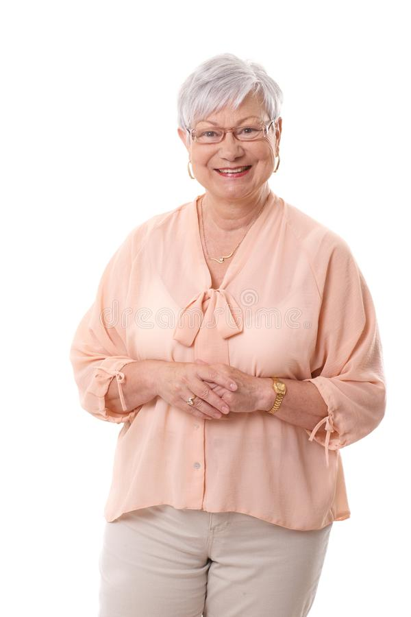 Portret van het rijpe vrouw glimlachen royalty-vrije stock foto's
