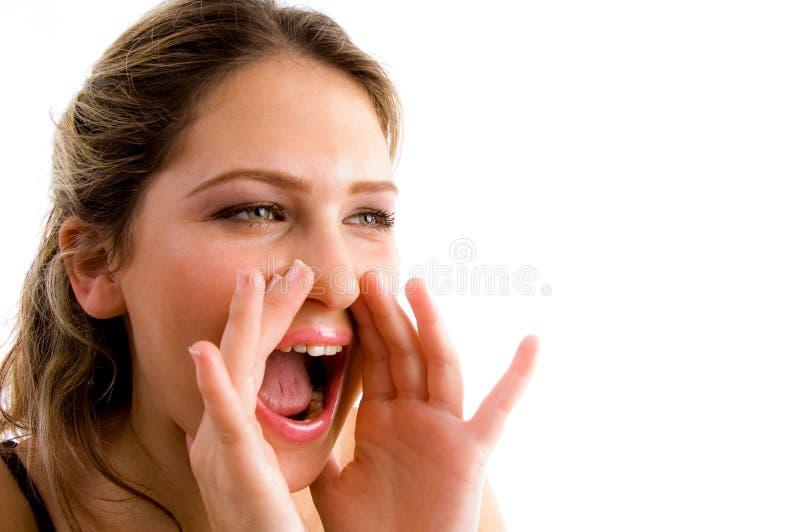 Portret van het schreeuwen jong model royalty-vrije stock fotografie