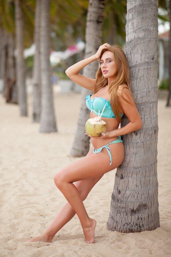 Portret van het sexy bikini jonge vrouw stellen met groene kokosnoot op het strand dichtbij palmen vietnam stock fotografie