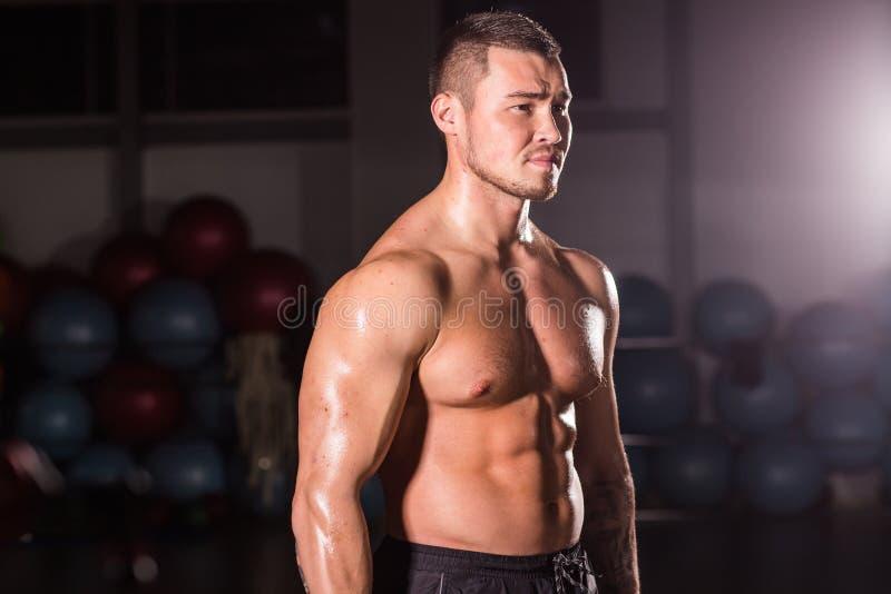 Portret van het sterke gezonde knappe Atletische Mensengeschiktheid Model stellen in gymnastiek stock foto