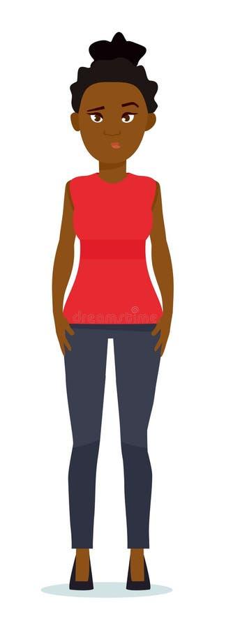 Portret van het verwarde Afrikaanse vrouw klagen Menselijke gelaatsuitdrukking, kinetisch gedrag Afrikaanse Amerikaanse mensen Ve vector illustratie