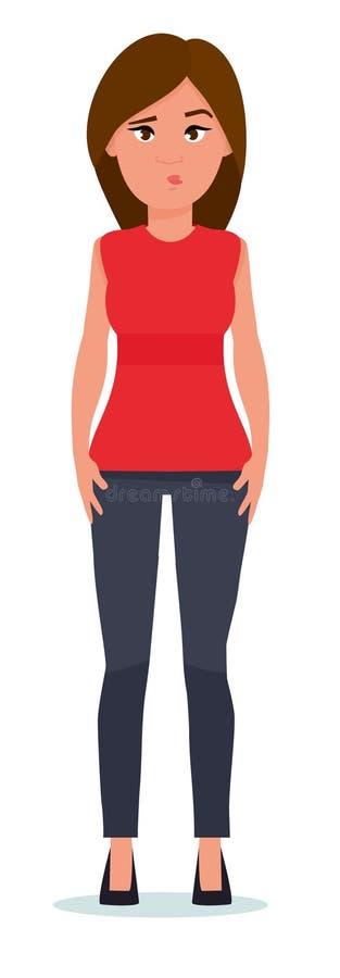 Portret van het verwarde jonge vrouw klagen De vector vlakke die illustratie van het beeldverhaalontwerp op witte achtergrond wor vector illustratie