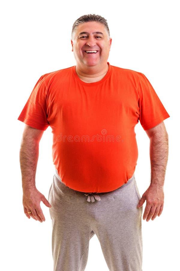 Portret van het vette mens glimlachen stock afbeelding