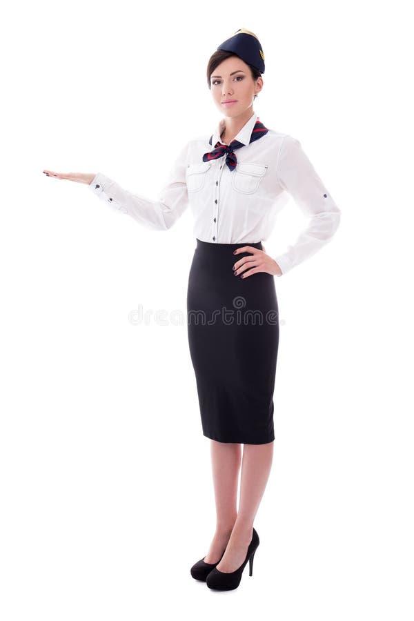 Portret van het welkom heten van stewardess op wit wordt geïsoleerd dat royalty-vrije stock foto