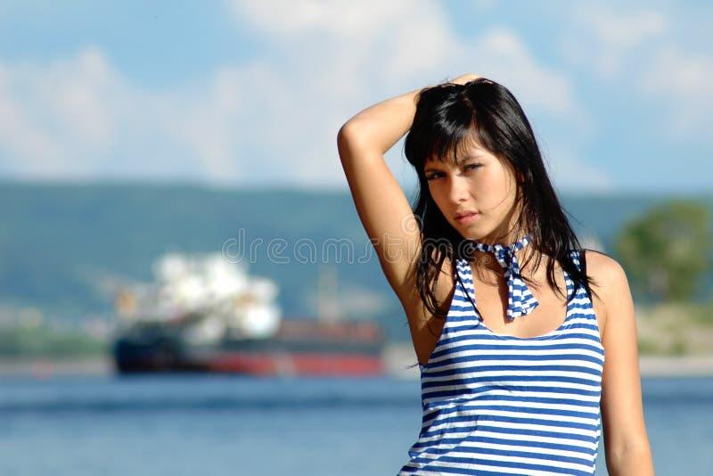 Portret van het zeemansmeisje stock afbeelding