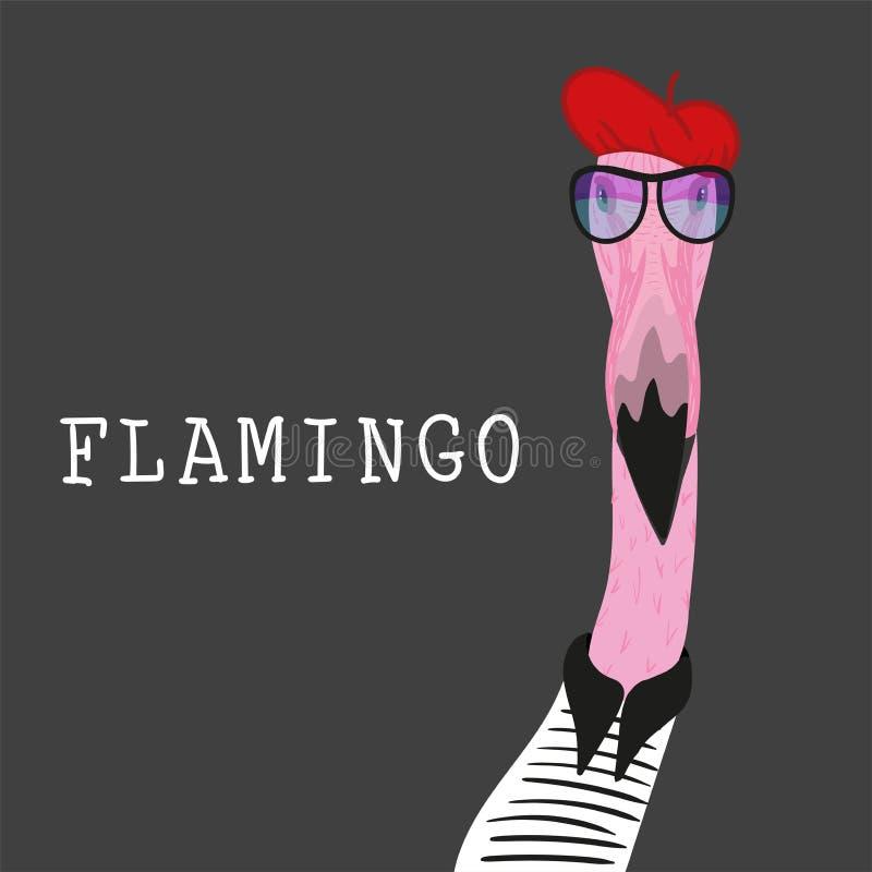 Portret van Hipster-flamingo in rode barret vector illustratie