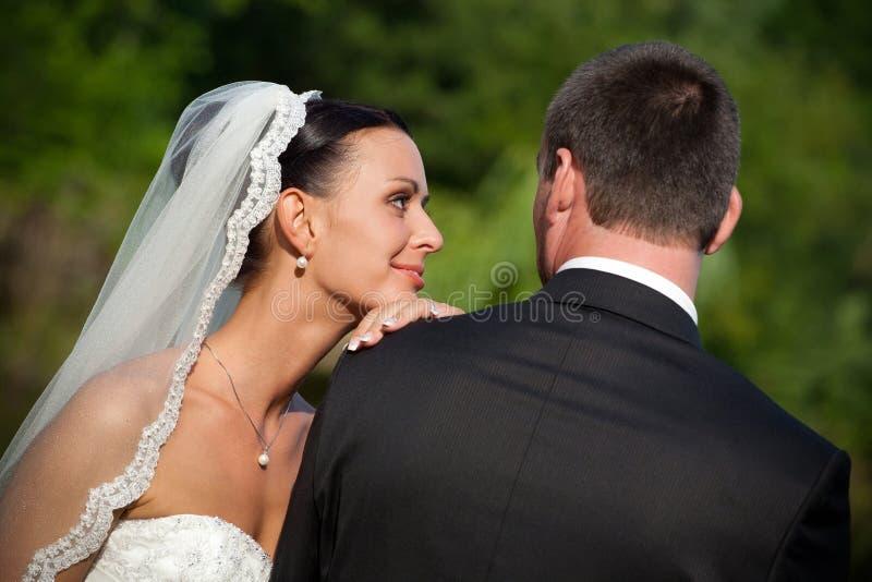 Portret van huwelijkspaar stock afbeeldingen