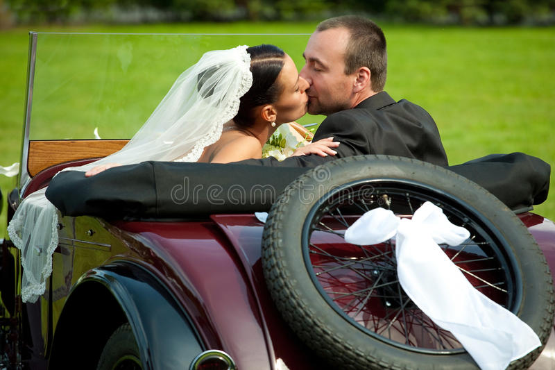Portret van huwelijkspaar stock foto's