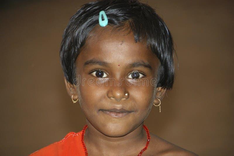 Portret van Indisch meisje, Bijapur, India stock fotografie