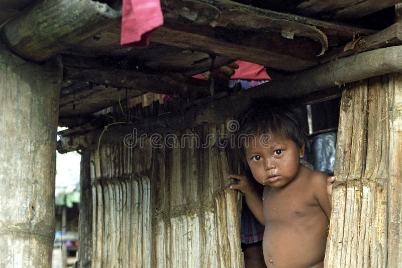Portret van Indische jongen in slechte hut van bamboe stock afbeelding