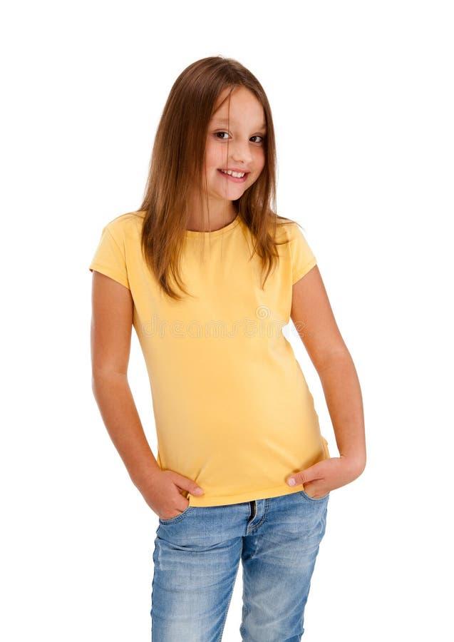 Portret van jong meisje dat op witte backgroun wordt geïsoleerdu stock afbeeldingen