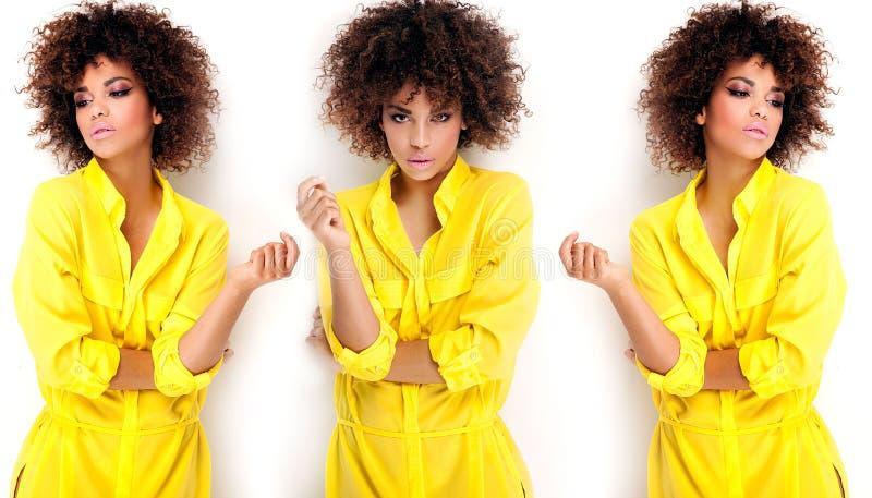 Portret van jong meisje met afro stock afbeeldingen