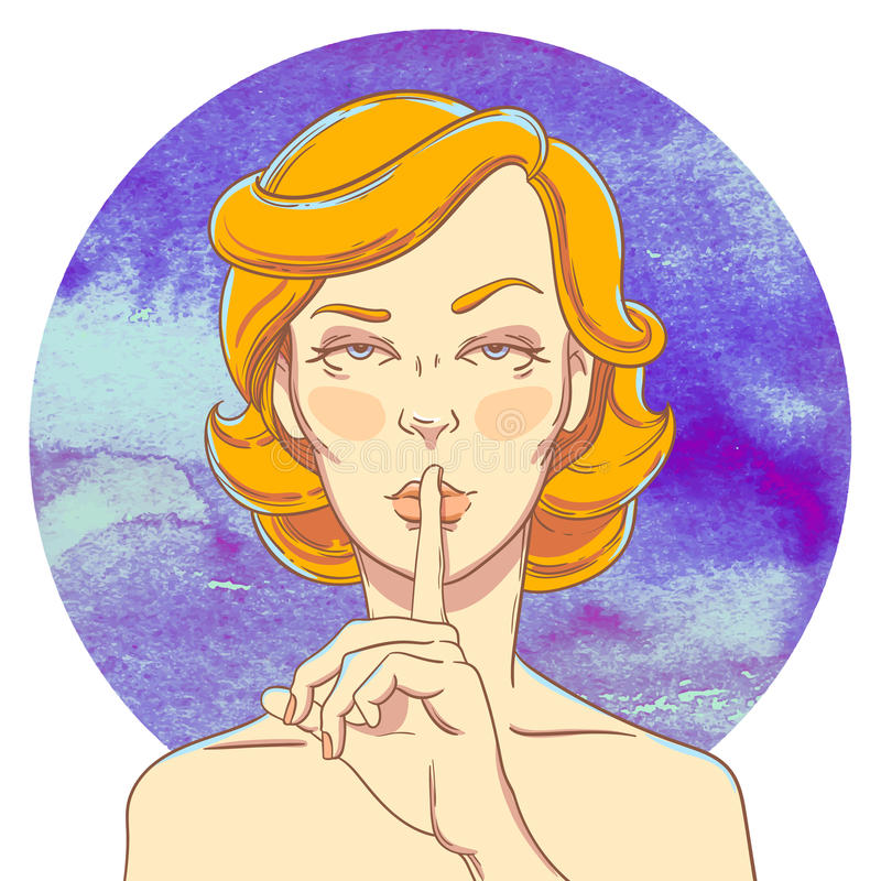 Portret van jong meisje met vinger aan haar mond stock illustratie