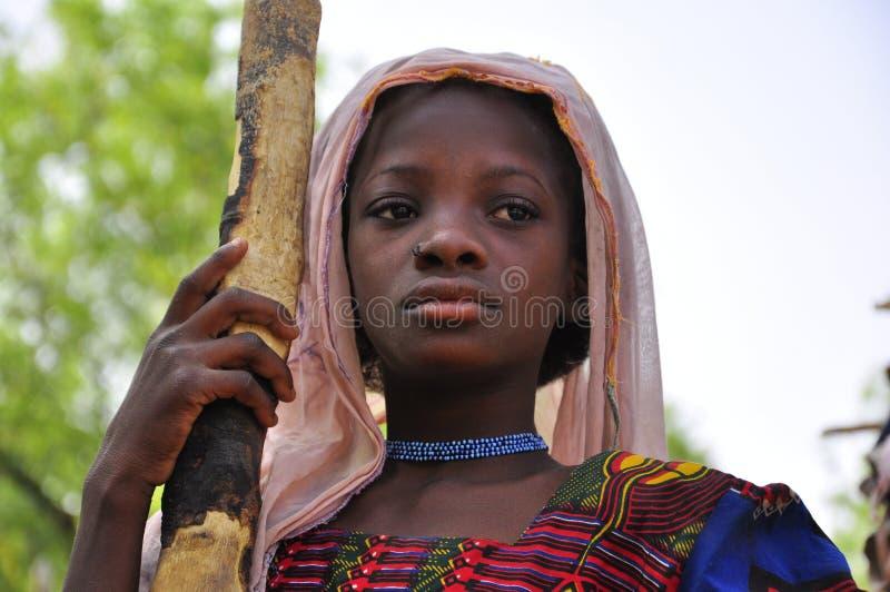 Portret van Jong meisje Nigerien stock afbeeldingen