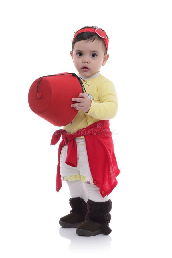 Portret van Jong Mooi Babymeisje met Tarboosh stock afbeeldingen